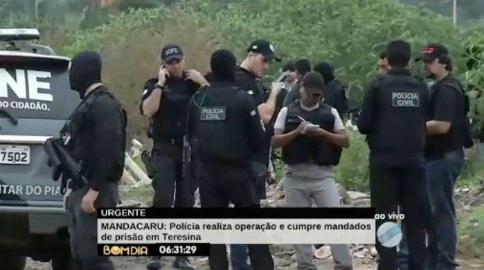 Polícias reunidas para operação (Crédito: Reprodução/TV Meio Norte)