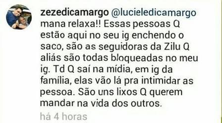Zezé chamou internautas de ''lixos'' (Crédito: Reprodução/ Instagram)