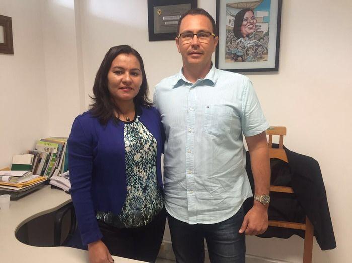 Celene Fernandes e George Rodrigues, presidente da FCP