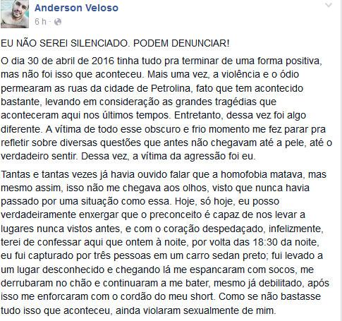 Na época do ataque, Anderson escreveu um relato comovente no Facebook