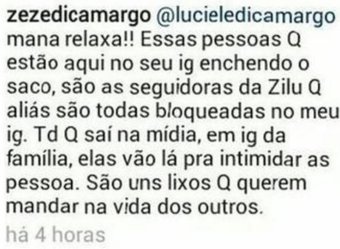 Luciele rebateu críticas de fãs de Zilu