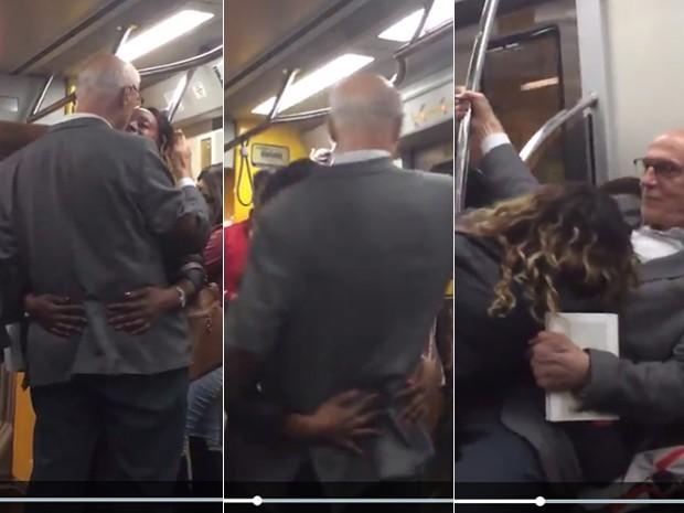 Suplicy é agarrado por fã no Metrô de São Paulo