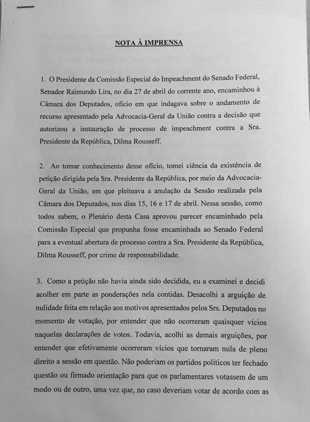 Nota à imprensa de Waldir Maranhão (Crédito: Reprodução)