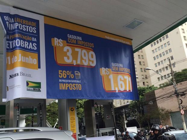 Gasolina vendida a R$ 1,671 lotou posto de gasolina (Crédito: Divulgação)