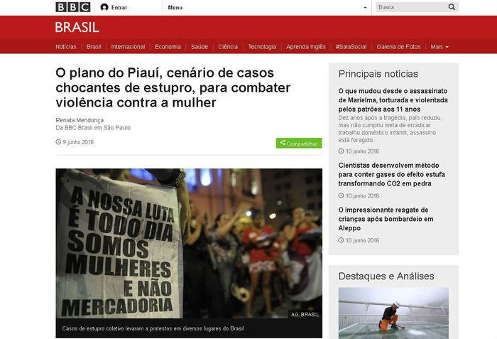 Matéria publicada pela página oficial da BBC Brasil