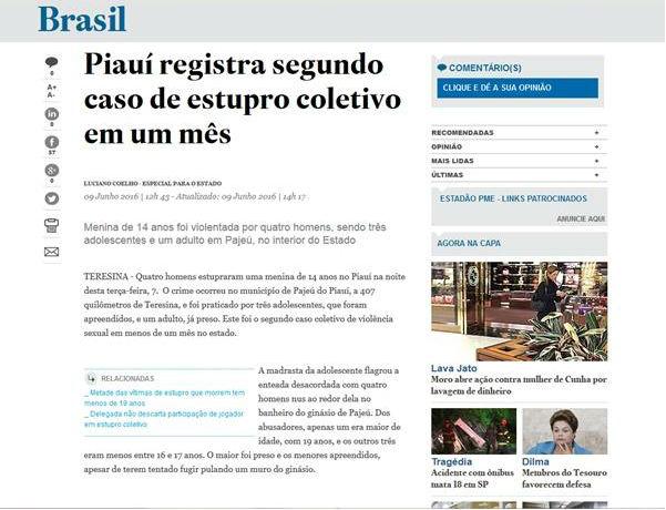 Matéria publicada pelo Estadão