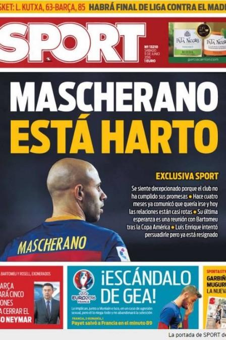 """""""Mascherano está farto"""", diz a manchete principal do """"Sport"""". (Crédito: Reprodução)"""