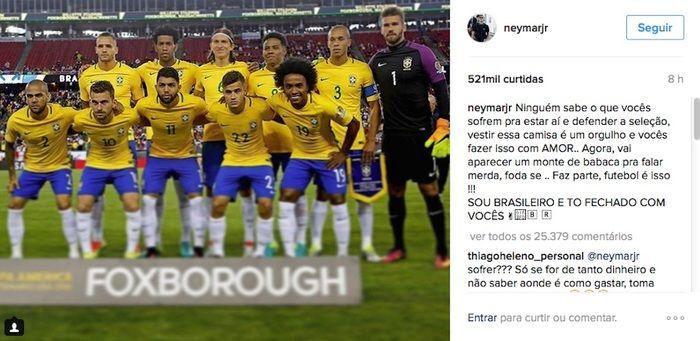 Publicação de Neymar (Crédito: Reprodução)
