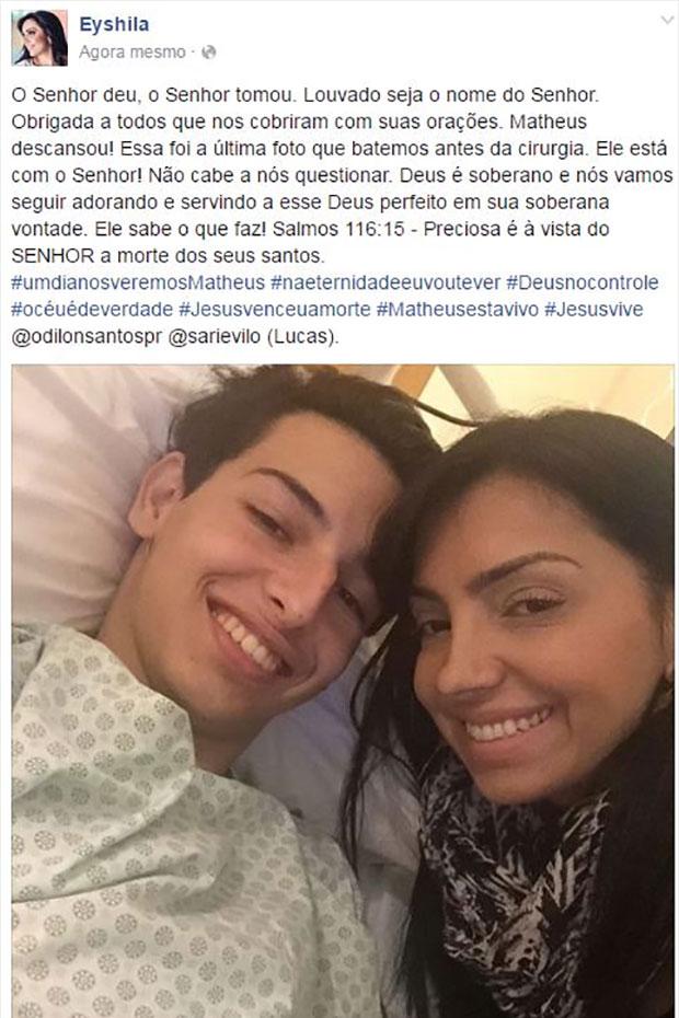 Eyshila se pronunciou nas redes sociais sobre a morte do filho  (Crédito: Reprodução/ Facebook )