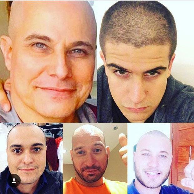 Familiares de Celulari raspam a cabeça em solidariedade (Crédito: Reprodução/ Instagram)