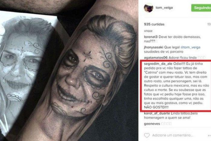 Mulher de Tom Veiga, o Louro José, reprova tattoo com seu rosto feita pelo marido (Crédito: Reprodução)
