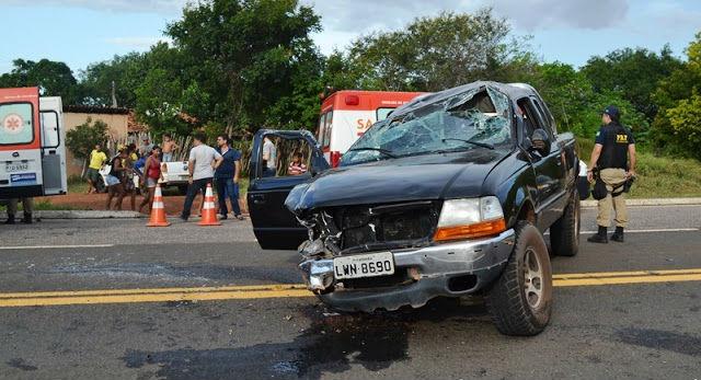 Caminhonete envolvida no acidente (Crédito: Blog do Pessoa)