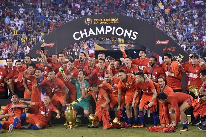 Seleção chilena campeã (Crédito: Reprodução)