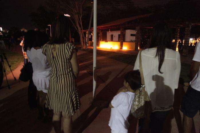Amigos se reúnem em ato no Parque da Cidadania (Crédito: Efrém Ribeiro)