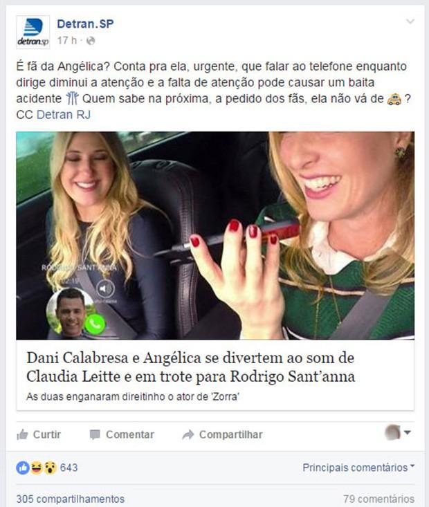 Angélica levou bronca do Detran  (Crédito: Reprodução/ Fscebook )