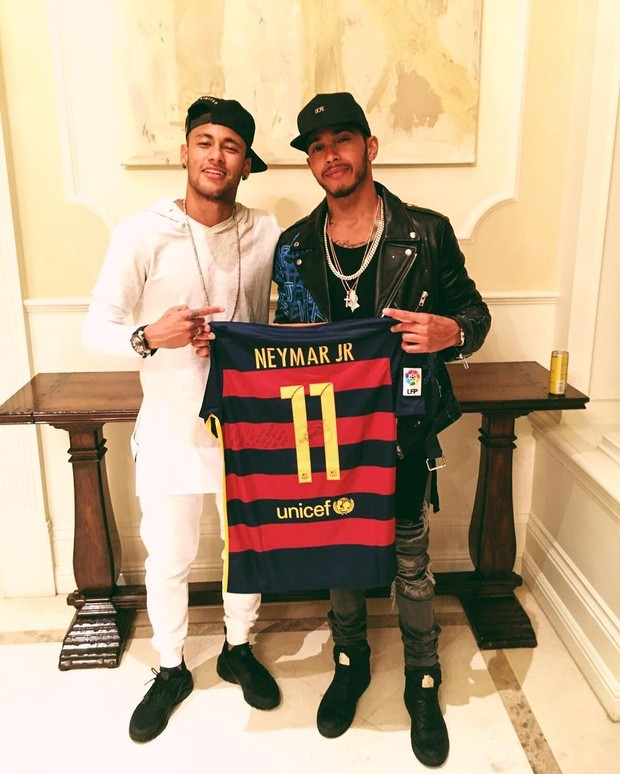 Neymar e Lewis Hamilton  (Crédito: Reprodução)