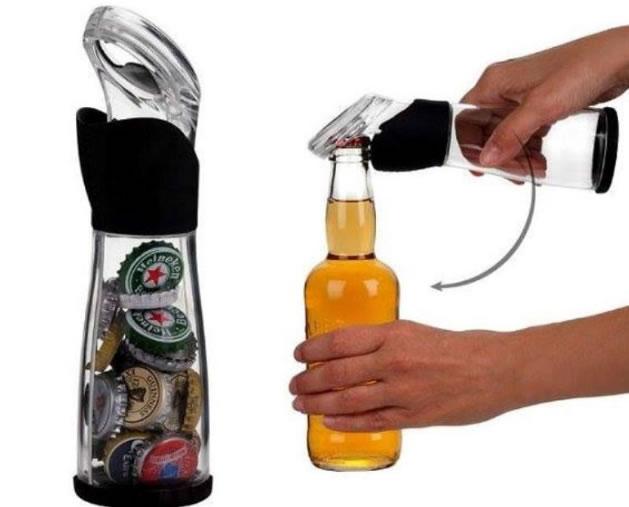 Abridor de garrafa que recolhe as tampas (Crédito: Reprodução)