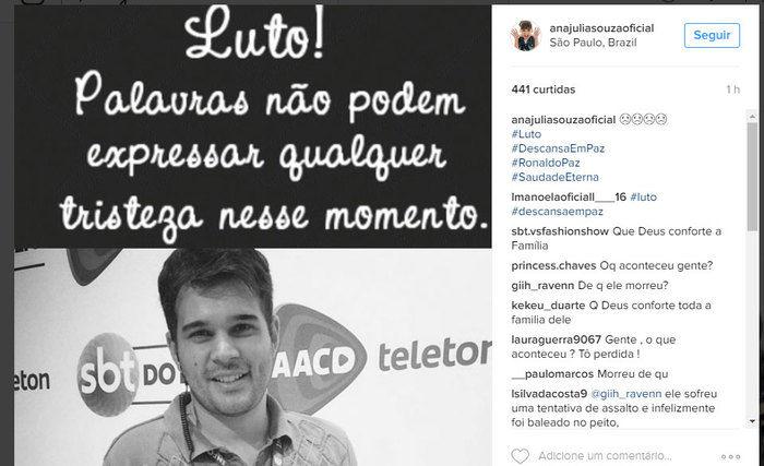 Ronaldo Paz foi morto ao sair do SBT (Crédito: Divulgação)