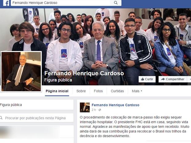 Equipe de FHC postou comunicado no Facebook sobre operação