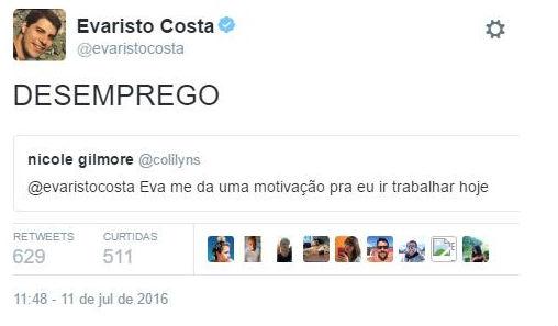Evaristo Costa dá resposta surpreendente a seguidora em rede social (Crédito: Reprodução)