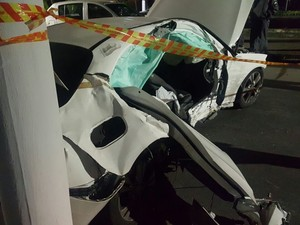 Situação do carro após o acidente (Crédito: Reprodução)