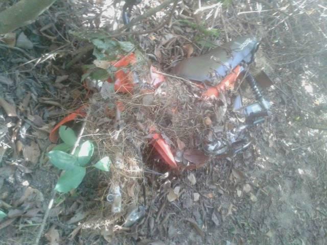 Moto foi encontrada em matagal (Crédito: JF Agora)
