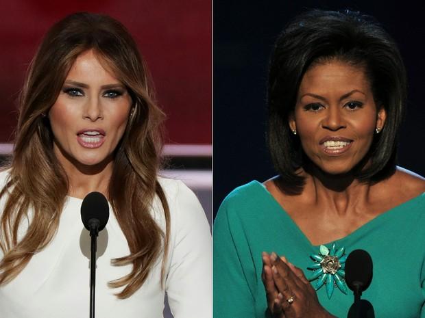 Melania Trump, durante convenção republicana em 2016, e Michelle Obama, na convenção democrata de 2008