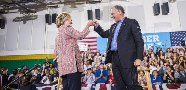 Hillary Clinton e Tim Kaine (Crédito: Reprodução)