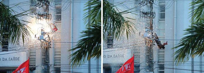 Momento em que o homem sofreu a descarga (Crédito: Jadilson Simões/Jornal da Cidade)