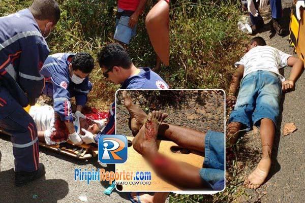 Motociclista fica inconsciente após acidente na cidade de Piripiri (Crédito: Reprodução)