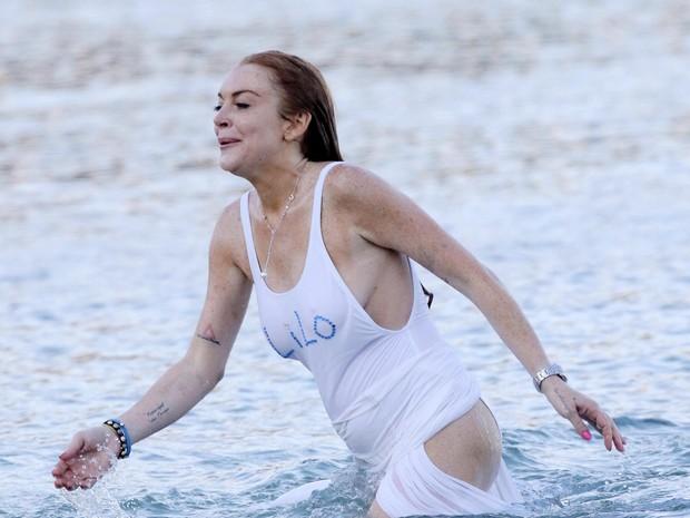Lindsay Lohan e o noivo (Crédito: Reprodução)