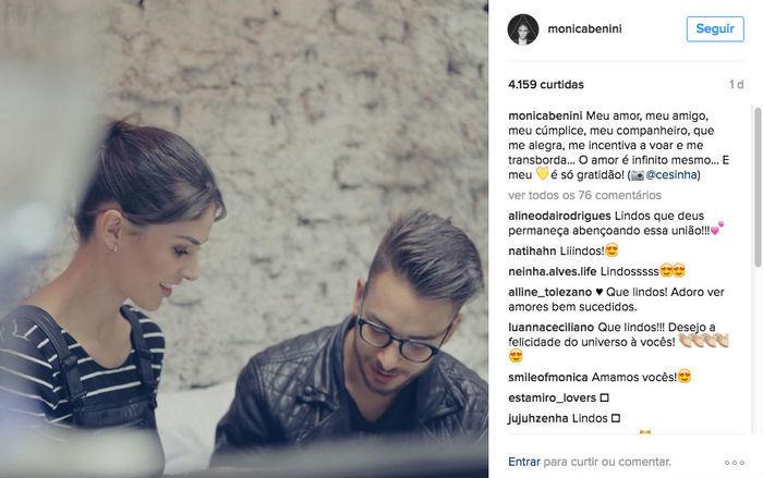 Monica Benini faz declaração de amor para Junior Lima (Crédito: Reprodução)