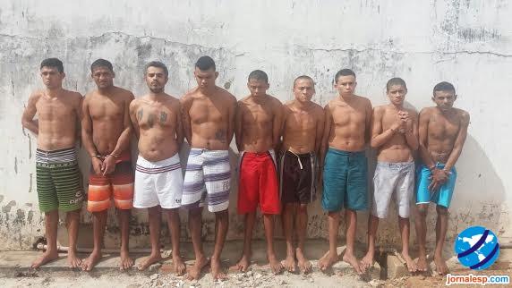 Nove detentos que tentaram fugir do domingo, dia 31 (Crédito: Jornalesp)