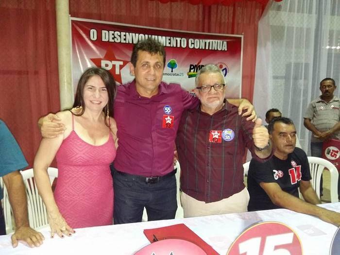 Primeira dama Ana Celia, Canditato a reileeição a prefeito Tonho Veríssimo (PT)  e Zé Valdo a vice (PSD) (Crédito: juazeiroalerta.com.br)