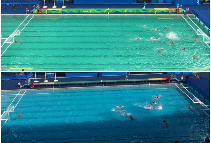iscina de polo aquático do Maria Lenk; compare fotos desta quarta-feira com a de terça (Crédito: Tiago Leme)
