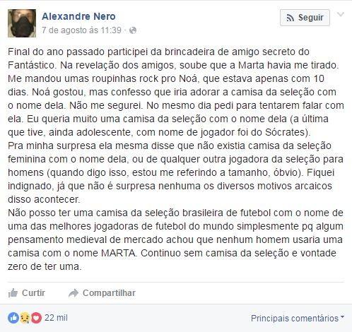 Nero reclama de ausência de camisas da seleção com nome de Marta (Crédito: Reprodução)