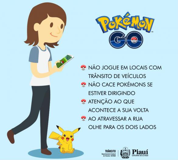 Alerta do Detran-PI aos jogadores de Pokémon Go (Crédito: Reprodução)