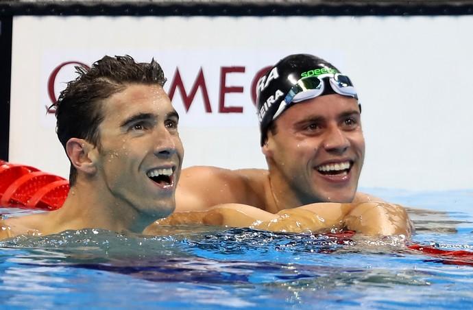 Phelps e Thiago nadaram lado a lado (Crédito: Satiro Sodré/SSPress)