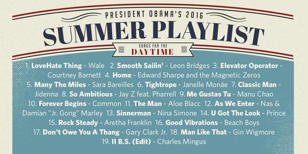 Playlist 'diurna' criada por Barack Obama para o Spotify (Crédito: Reprodução)