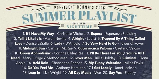 Playlist 'noturna' criada por Barack Obama para o Spotify (Crédito: Reprodução)