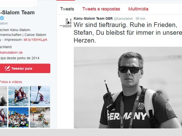 O time alemão de canoagem prestou homenagem na rede social ao atleta