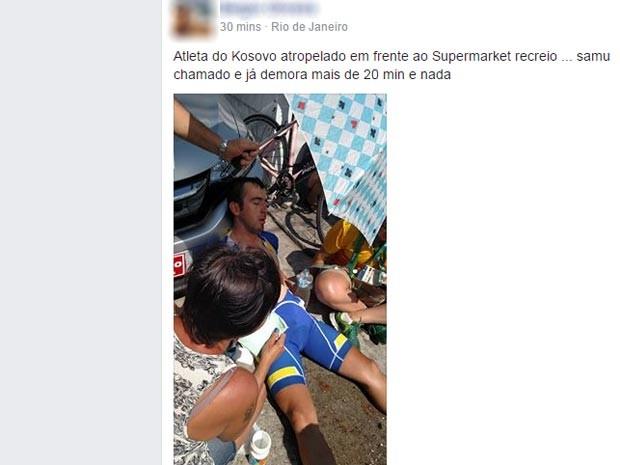 Atleta do Kosovo é atropelado na Barra da Tijuca (Crédito: Reprodução)