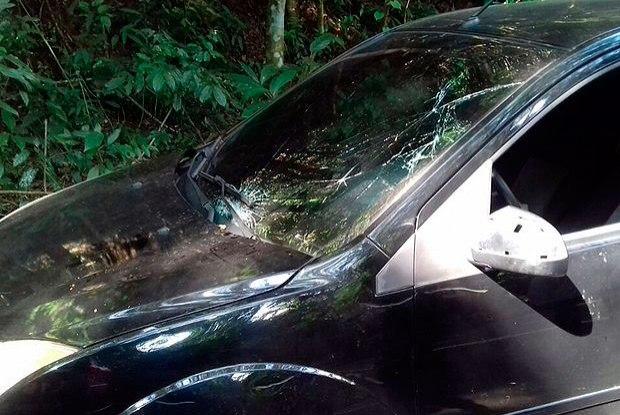 Carro que atropelou atleta sul-coreano (Crédito: PRF)