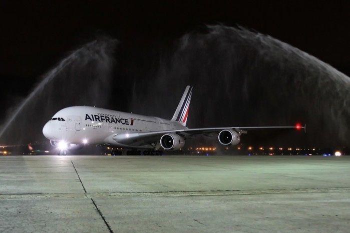 A380 que pousou na noite de segunda no Galeão (Crédito: Divulgação)