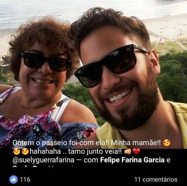 Suely Guerra Farina e o filho Felipe Farina Garcia (Crédito: Reprodução)
