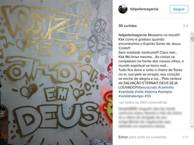 Postagem de Felipe (Crédito: Reprodução)