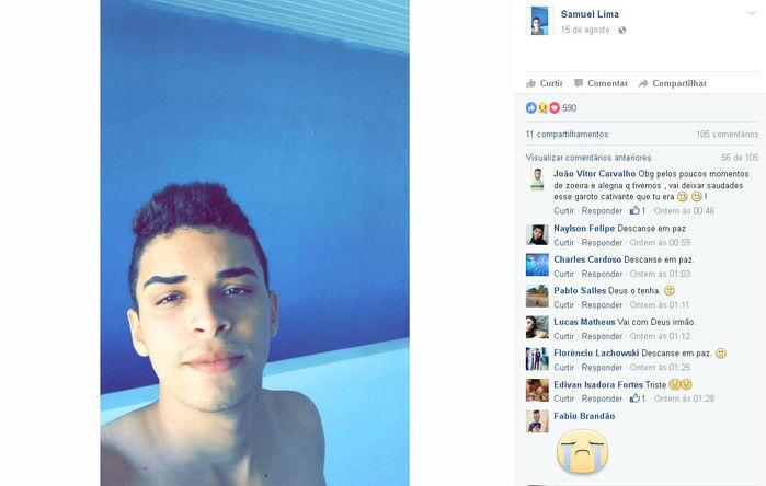 Amigos lamentam a morte de Samuel (Crédito: Facebook)