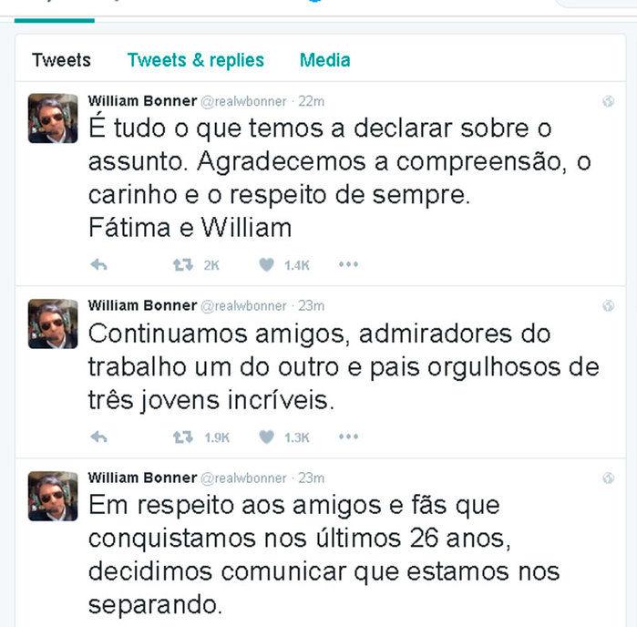 William Bonner comunicou separação no Twitter  (Crédito: Reprodução/ Twitter )