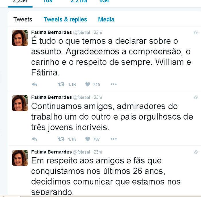 Fátima Bernardes comunicou separação no Twitter  (Crédito: Reprodução/ Twitter )
