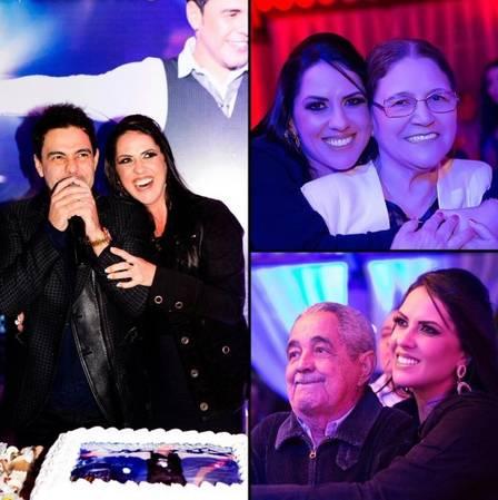 Graciele Lacerda com pais de Zezé Di Camargo em aniversário do cantor